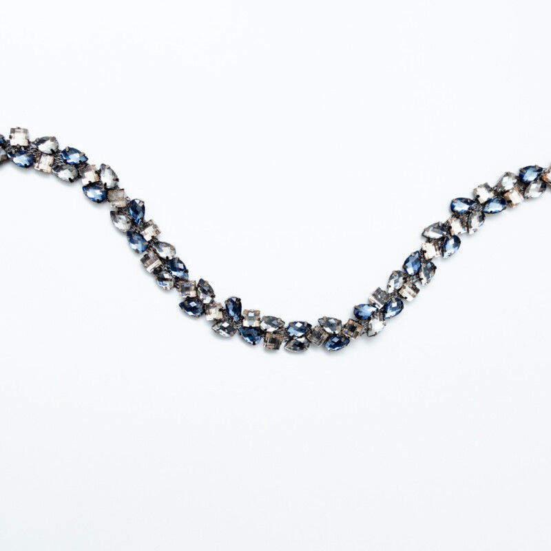 Blue, Silver and Gunmetal Fancy Jeweled Trim - 0.75""