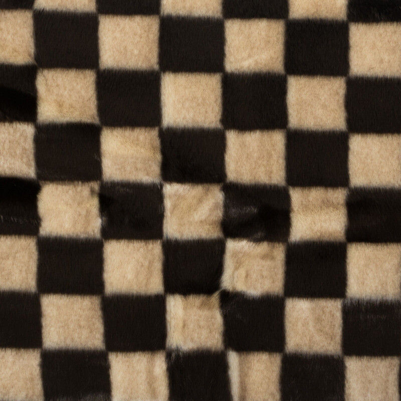 Brown and Bleached Sand Checker Board Faux Fur
