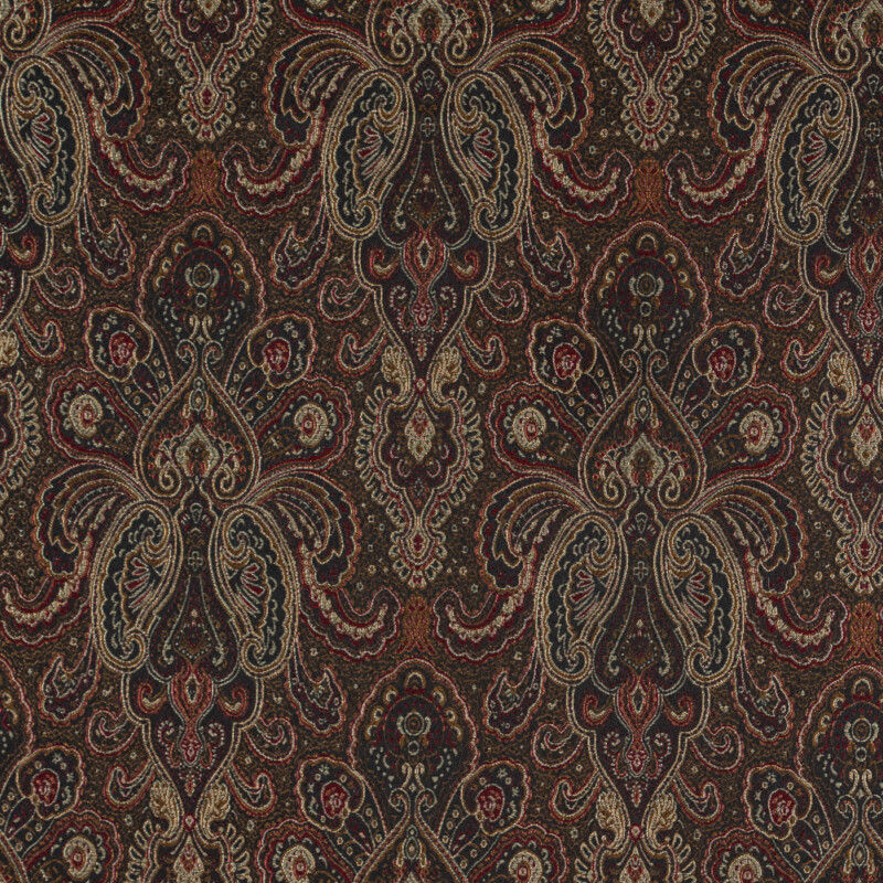 Radiant Red and Gold Paisley Damask Jacquard