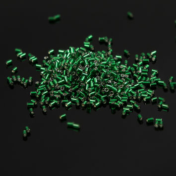 Emerald Czech Bugle Seed Beads 7.4 grams-101339-10