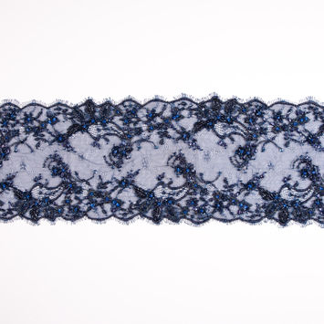 Navy Beaded and Sequined Lace Trim - 6.5