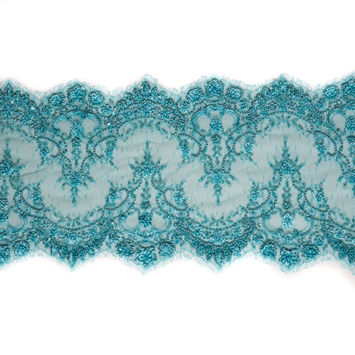Turquoise Fancy Beaded Lace Trimming - 8