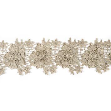 4 3D Metallic Gold Floral Lace Trim - 4