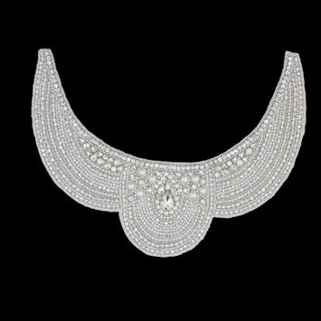 Pearl White/Silver Beaded Rhinestone Neck Applique