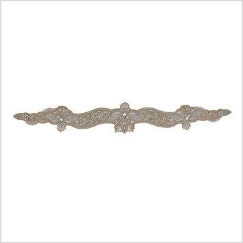 Silver/Warm Beige Rhinestone Neck Applique