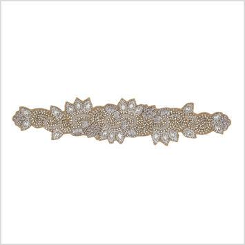 Silver/Beige Beaded Rhinestone Applique