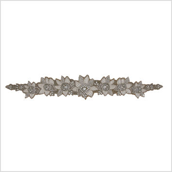 Silver/Ivory/Dark Beige Beaded Rhinestone Applique