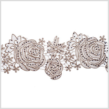 5.5 Metallic Silver Beaded Floral Lace Trim