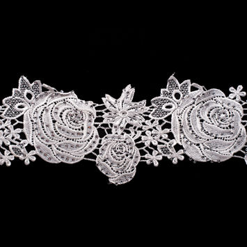 5.5 Metallic White Beaded Floral Lace Trim