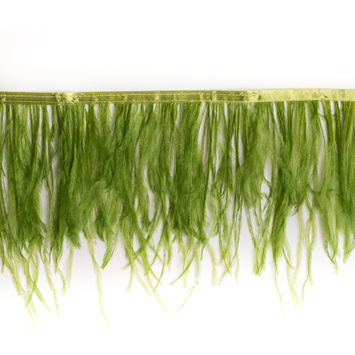 6 Single Ply Green Ostrich Fringe