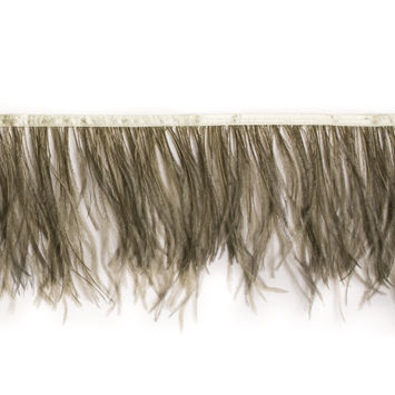 6 Single Ply Sage Green Ostrich Fringe