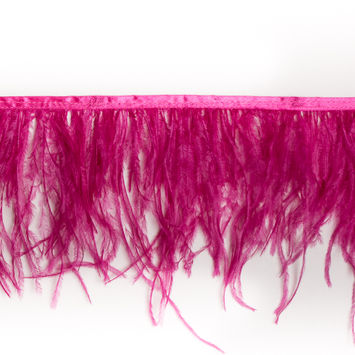 6 Single Ply Pink Ostrich Fringe