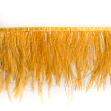 6 Single Ply Yellow Ostrich Fringe