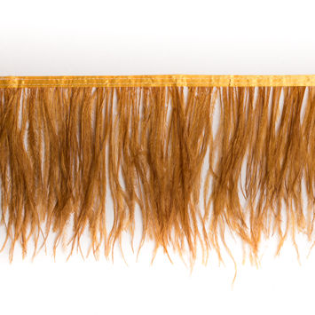 6 Single Ply Ochre Ostrich Fringe