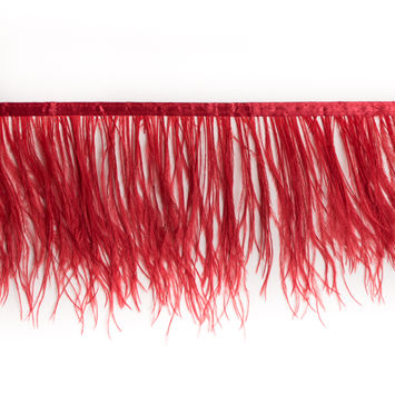 6 Single Ply Red Ostrich Fringe