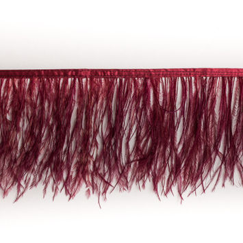 6 Single Ply Burgundy Ostrich Fringe