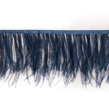 6 Single Ply Dark Navy Ostrich Fringe
