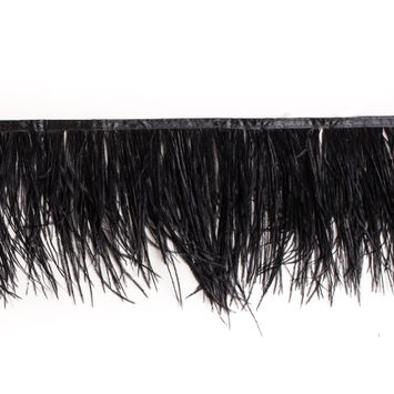 6 Double Ply Black Ostrich Fringe