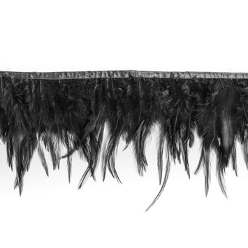 6 Black Cock Feather Fringe