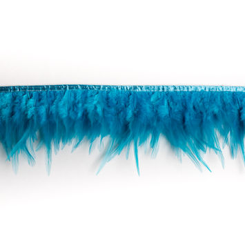 6 Turquoise Cock Feather Fringe