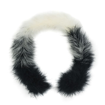 "Black and Cream Marabou Feather Scarf 33""-112325-10"