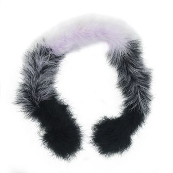 "Black and Lavender Marabou Scarf 33""-112326-10"