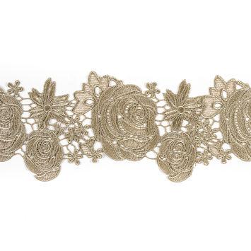 Metallic Gold Rose Lace Trim - 5