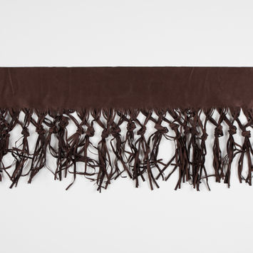 Italian Dark Brown Suede Fringe with Knots - 8.5