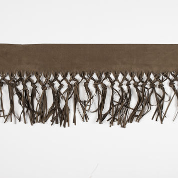Italian Beige Suede Fringe with Knots - 8.5