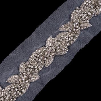 Silver Fancy Rhinestone Trim - 1.25