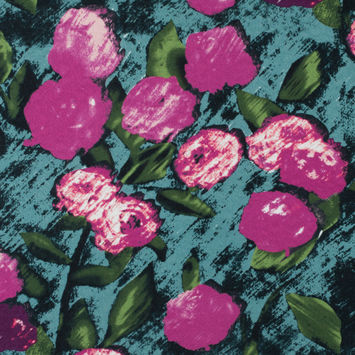 Pink/Green Digitally Printed Floral on a Rose Jacquard