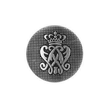 Italian Silver Crest Zamac Button - 36L/23mm