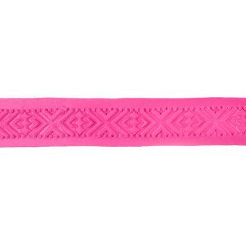 Italian Pink Geometric Embossed Double Knit Trim - 1