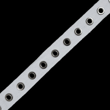 """Italian White Tape with Silver Grommets 1.25""""-115540-10"""