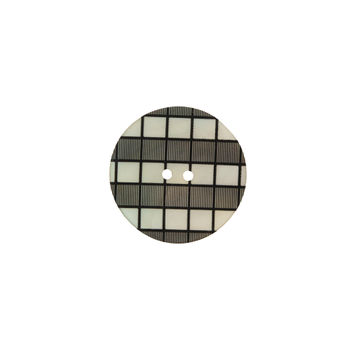 Italian Black and White Checkered Mother Of Pearl Button - 24L/15mm