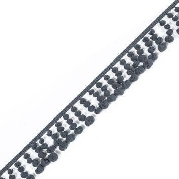 Charcoal European Pom Pom Fringe - 1.75