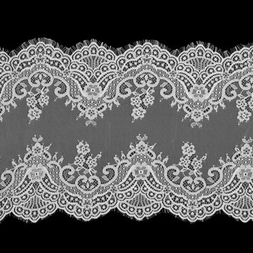 White Wide Floral Lace with Scalloped Eyelash Edges-119071-10