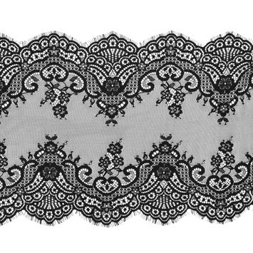 Black Wide Floral Lace with Scalloped Eyelash Edges