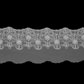 """Off-White Floral Embroidered Mesh Trim with a Scalloped Edge 5.5""""-119148-10"""