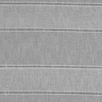 White and Metallic Silver Awning Striped Drapery Sheer