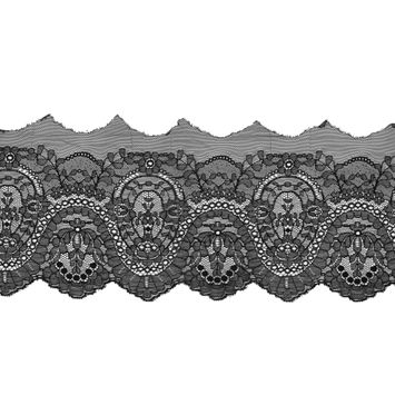 "Black Fine Floral Lace with a Scalloped Edge 7""-119528-10"