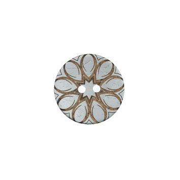 Italian Metallic Silver Floral Coconut Button 24L/15mm-120160-10