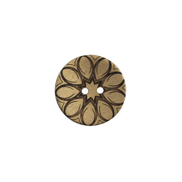 Italian Metallic Gold Floral Coconut Button - 24L/15mm