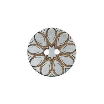 Italian Metallic Silver Floral Coconut Button 32L/20mm-120162-10