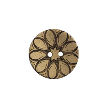 Italian Metallic Gold Floral Coconut Button 32L/20mm-120163-10