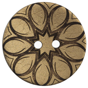 Italian Metallic Gold Floral Coconut Button 64L/40mm-120164-10