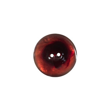 Italian Red 2-Hole Shell Button - 24L/15mm