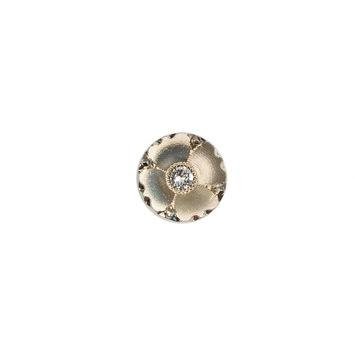 Italian Gold Floral Button with Rhinestone Core - 16L/10mm