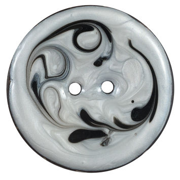 Italian Black and Ivory Swirl 2-Hole Button 64L/40mm-120375-10