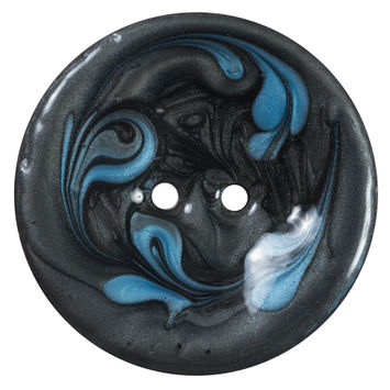 Italian Black and Blue Swirl 2-Hole Button 64L/40mm-120378-10